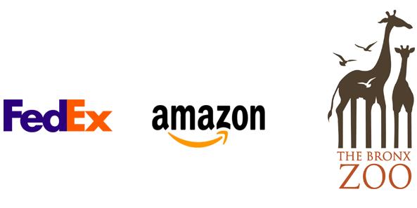 FedEx, Amazon and Bronx Zoo logos