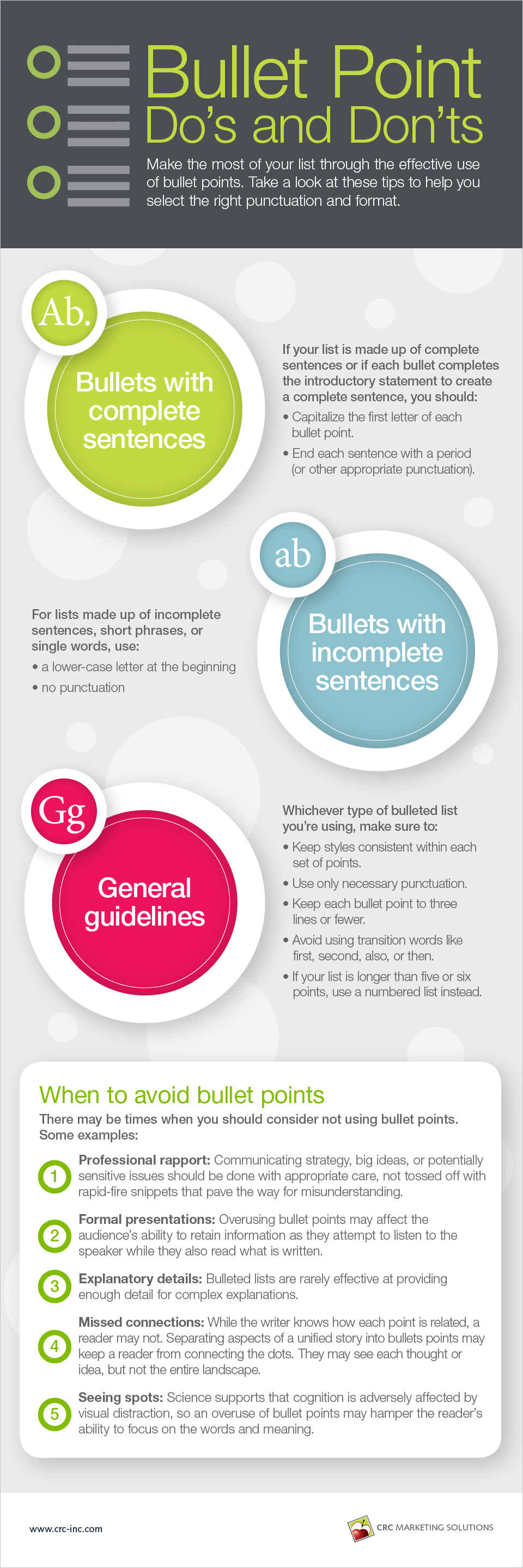 Bullet Point Do's and Don'ts Infographic