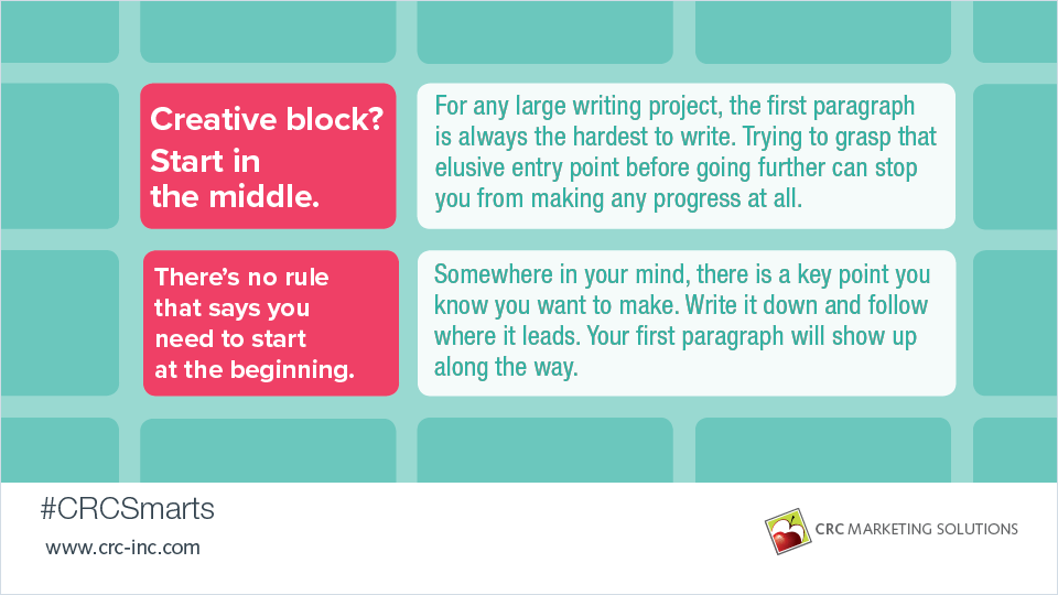Creative block? Start in the middle
