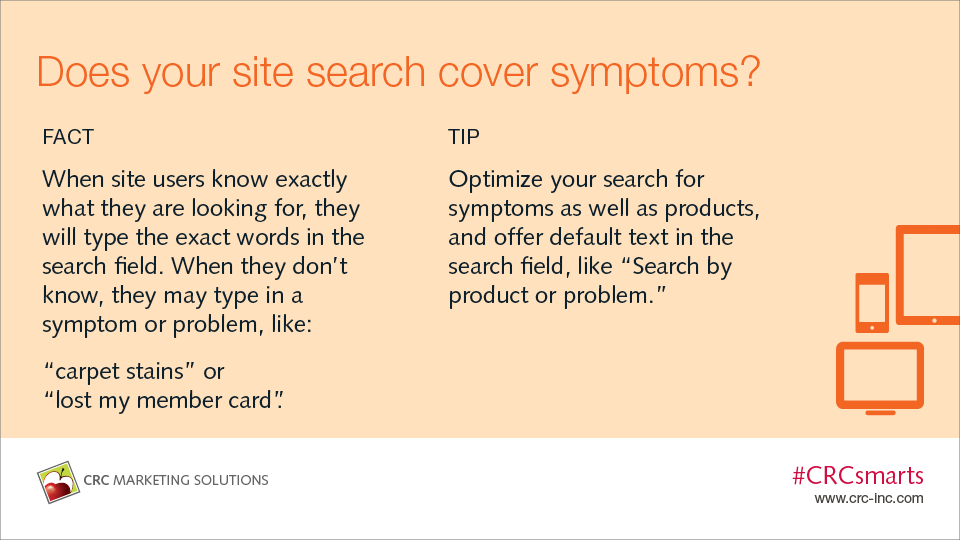 Does your site search cover symptoms?