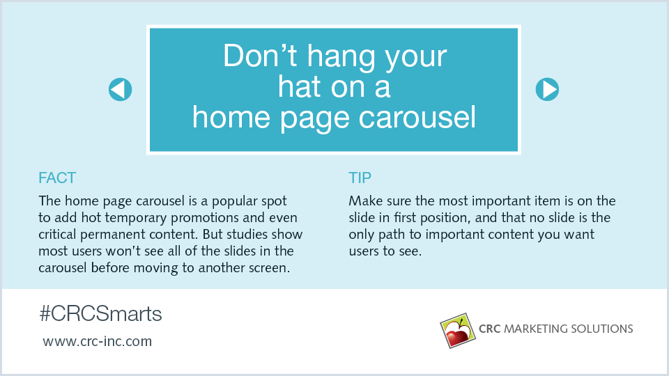 Don't hang your hat on a home page carousel
