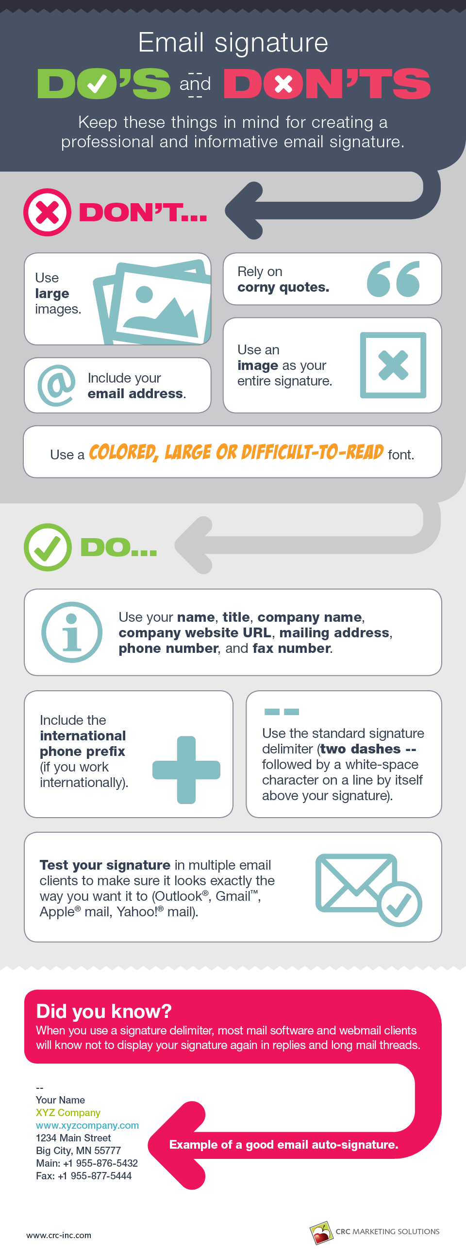 Email signature do's and don'ts infographic