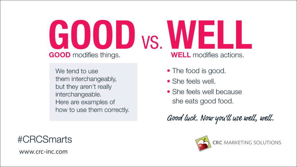 Grammar Tip: Good Vs. Well
