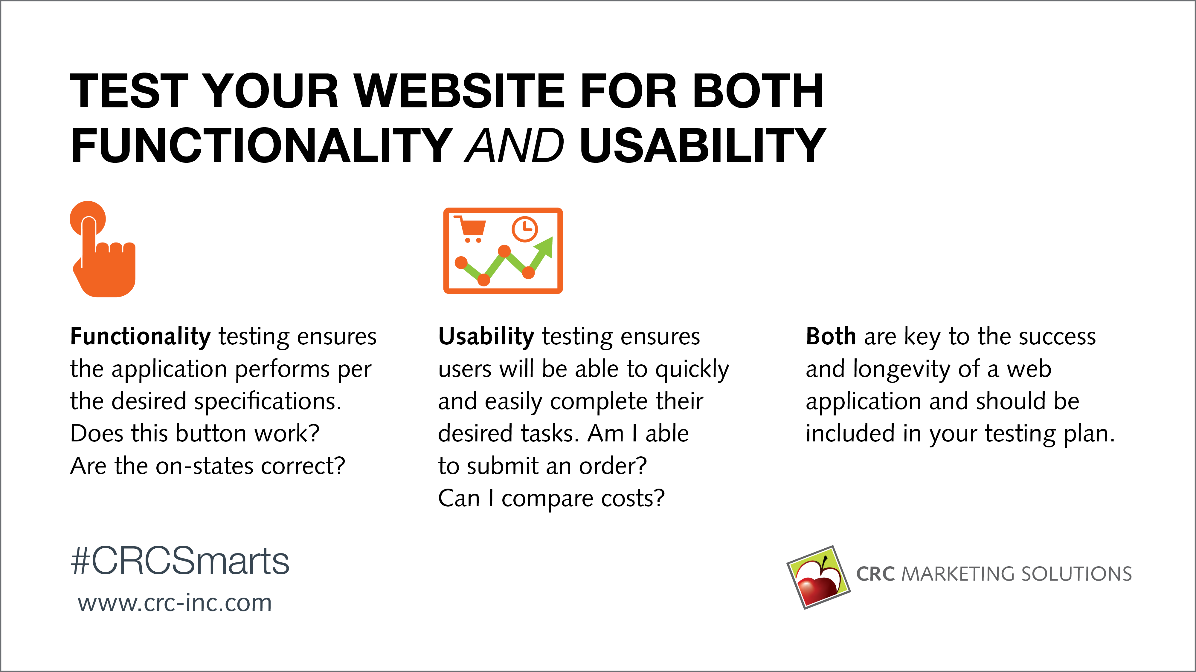 Test your website for both functionality and usability