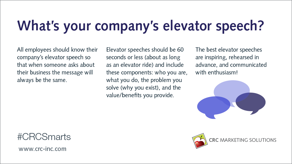 What's your company's elevator speech?