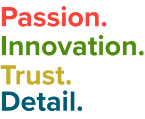 Our brand pillars: Passion, Innovtaion, Trust and Detail